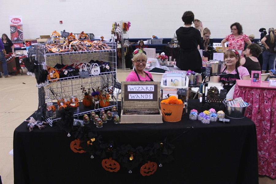 Two vendors selling their products.
