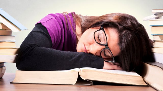 Students are tired throughout the day due to their lack of sleep during the night.
