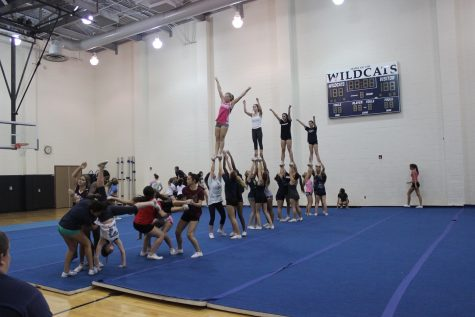 Preparation for the rally starts as early as seven weeks beforehand. That includes choreographing the routine and learning every step. Every dance move and stunt has to be in sync before they perform the stunt for over a thousand peers, teachers, and staff.