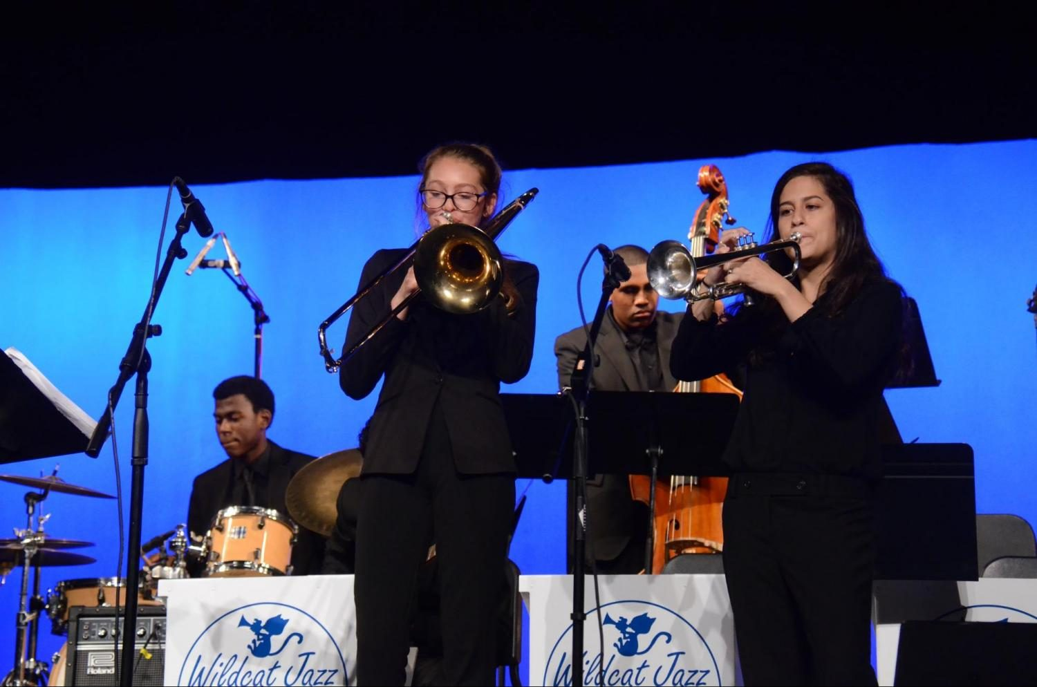 """The West Ranch Lab Band performed songs including """"Billie's Bounce,"""" """"Crazy Rhythm,"""" and """"Cantaloupe Island"""" with Logan White on trumpet, Mackenzie Voll on Trombone, Pauline Vartany on Piano, Ben Hernandez on Guitar, Maxwell Johnson on Bass and Nick Hosch on drums."""