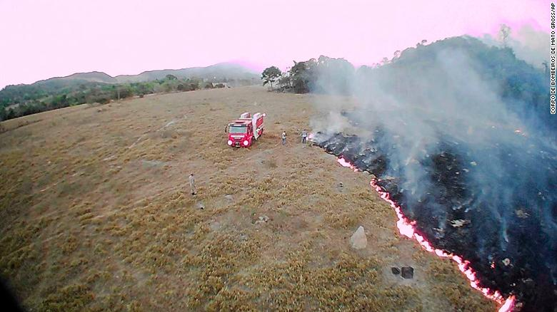This drone picture was released in Aug. 2019 by the  Corpo de Bombeiros de Mato Grosso of a fire in the Amazon.