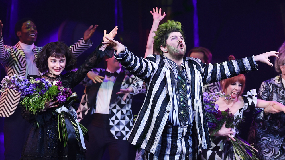 Mandatory Credit: Photo by Stephen Lovekin/REX/Shutterstock (10219047h) Sophia Anne Caruso and Alex Brightman 'Beetlejuice' Broadway play opening night, Curtain Call, New York, USA - 25 Apr 2019