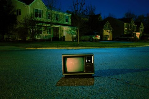 "Okay, Frank. ""turned off vintage CRT television on road"""