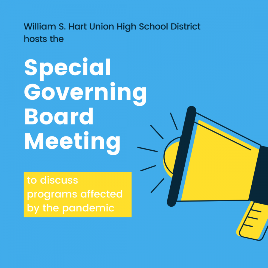 William S. Hart Union High School District hosts the Special Governing Board meeting to discuss programs affected by the pandemic